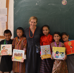 Sophie with children from Bhutan