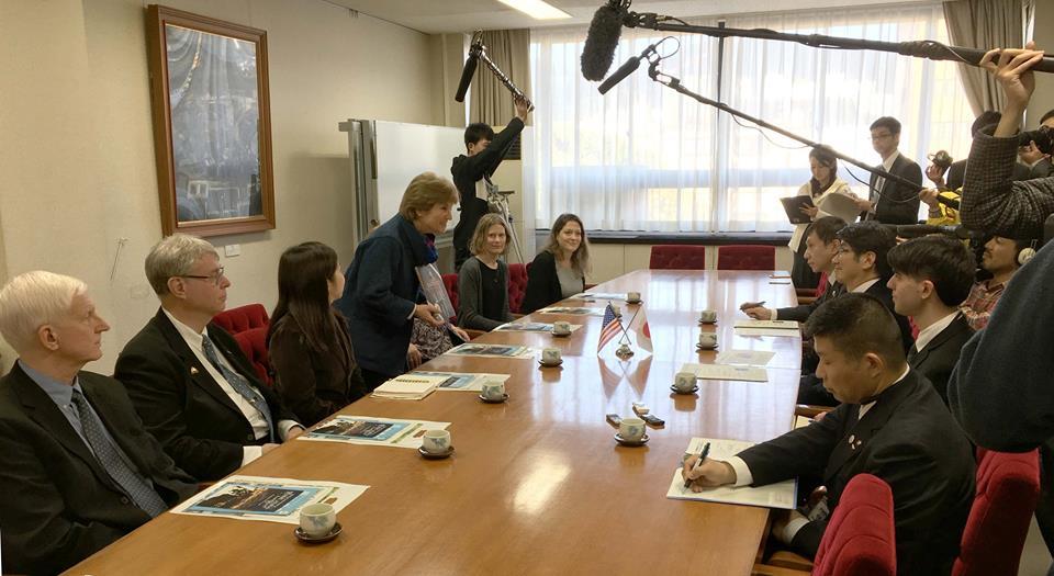 Caren presenting Sachiko to the mayor in Nagasaki along with Lerner employees