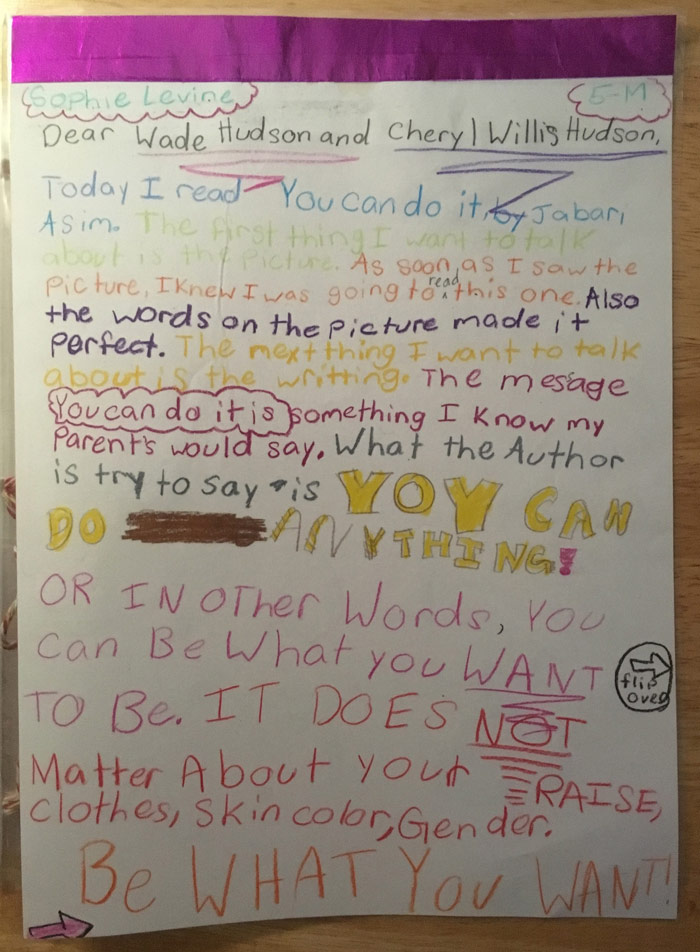 Letter to the Hudson's from a Gregory School student