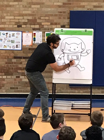 Drew Brockington's doing a drawing demonstration at a school visit