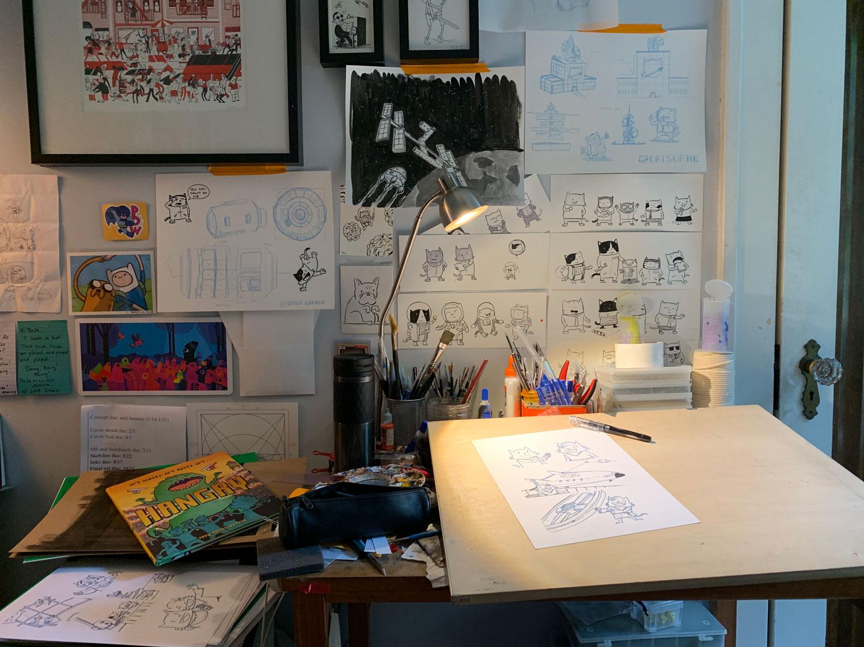 Drew Brockington's studio